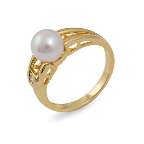 Кольцо из золота 750 пробы с морским жемчугом Акойя и бриллиантом