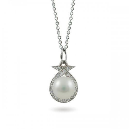 Кулон из серебра 925 с натуральным жемчугом и фианитами