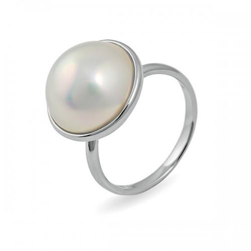 Кольцо из белого золота 585 с жемчугом Мабе