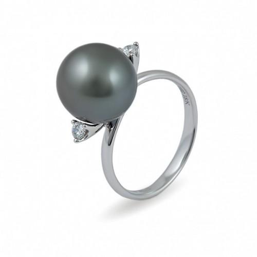 Кольцо из белого золота 750 с морским жемчугом Таити и бриллиантами