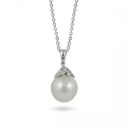 Подвеска из белого золота 750 с морским жемчугом и бриллиантами