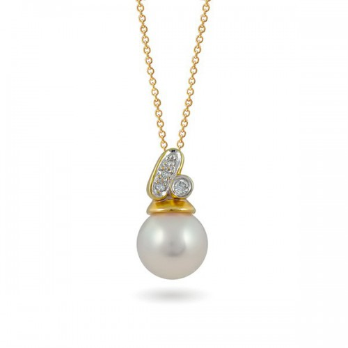 Подвеска из золота 585 с морским жемчугом Акойя и бриллиантами