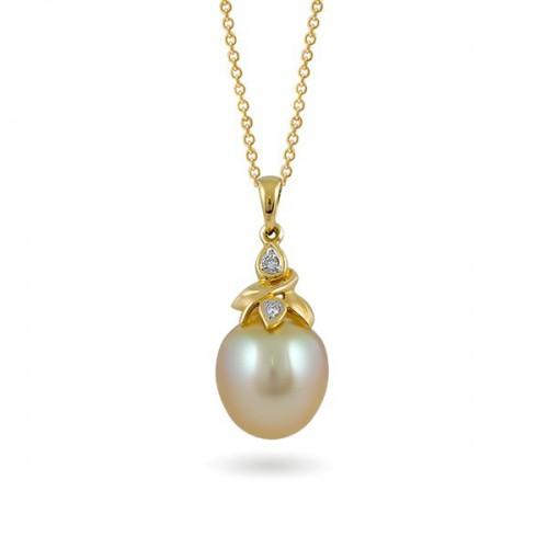 Подвеска из золота 585 с морским жемчугом и бриллиантами