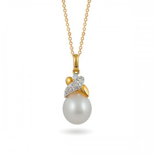 Подвеска из золота 750 с морским жемчугом и бриллиантами