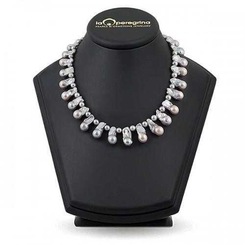 "Ожерелье из жемчуга цвета металик ""барокко"""