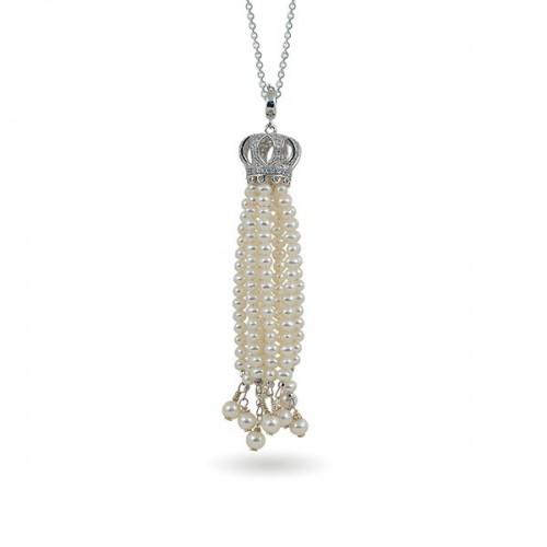 """Подвеска """"колокол"""" из серебра 925 с натуральным жемчугом и фианитами"""