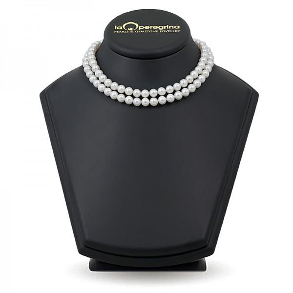 Двойное ожерелье из жемчуга белого цвета