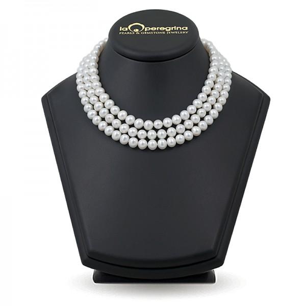 Тройное ожерелье из белого жемчуга