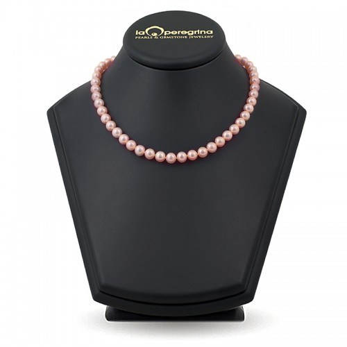 Ожерелье из натурального жемчуга розового цвета
