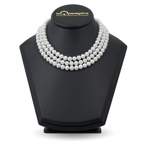 Тройное ожерелье из жемчуга белого цвета