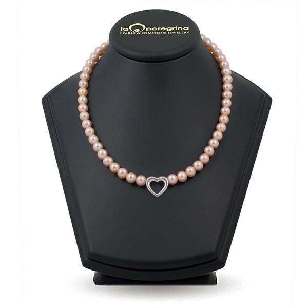 """Ожерелье из жемчуга розового цвета со вставкой в виде """"сердца"""""""