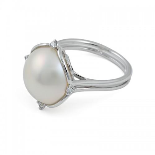 Кольцо из белого золота 585 пробы с жемчугом Мабе и бриллиантами