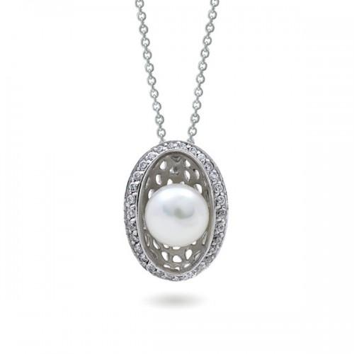 Подвеска из серебра 925 с натуральным жемчугом