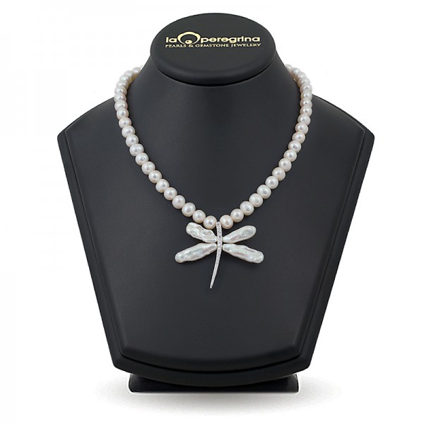 """Ожерелье из жемчуга белого цвета с подвеской """"стрекоза"""""""