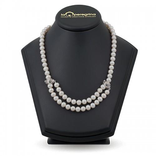 Ожерелье из жемчуга с замками из белого золота