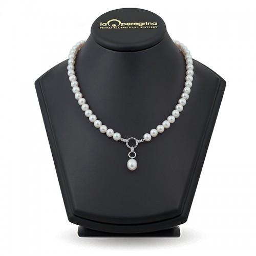 Ожерелье из жемчуга белого цвета с подвеской