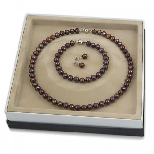 Комплект  - ожерелье, браслет, серьги-пусеты