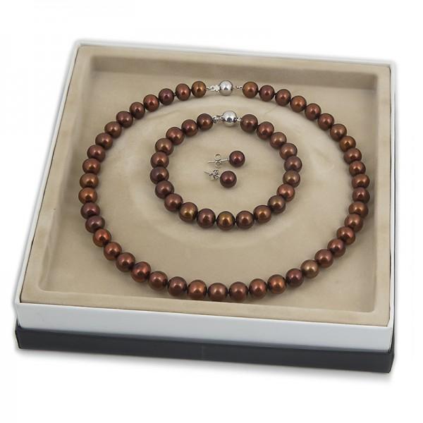 Комплект  - ожерелье, браслет, серьги-пуссеты.