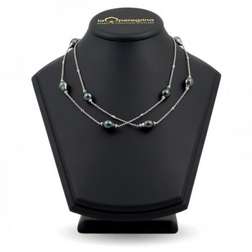 Ожерелье-бусы из морского жемчуга Таити на цепочке из золота 585 пробы с бриллиантами