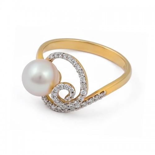 Кольцо из белого золота 585 пробы с морским жемчугом Акойя и бриллиантами