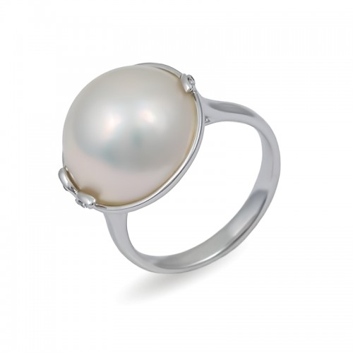 Кольцо из белого золота 750 пробы с морским жемчугом Мабе