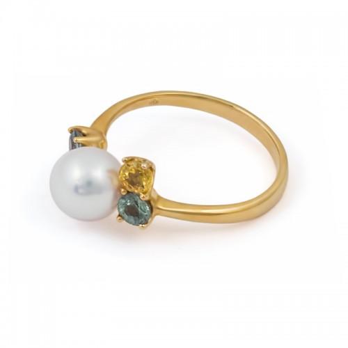Кольцо из желтого золота 750 пробы с морским жемчугом Акойя и сапфирами