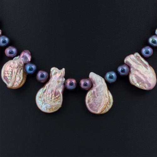 Ожерелье с барочного жемчуга цвета мультиколор