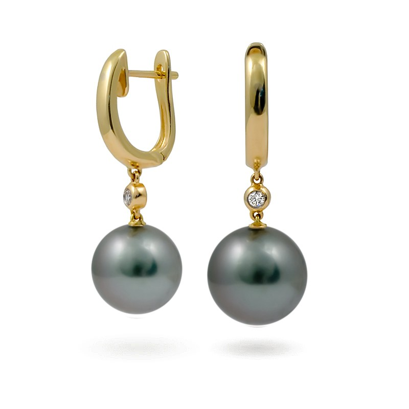 Серьги из золота 585 пробы с морским таитянским жемчугом и бриллиантами ... 15447c17268