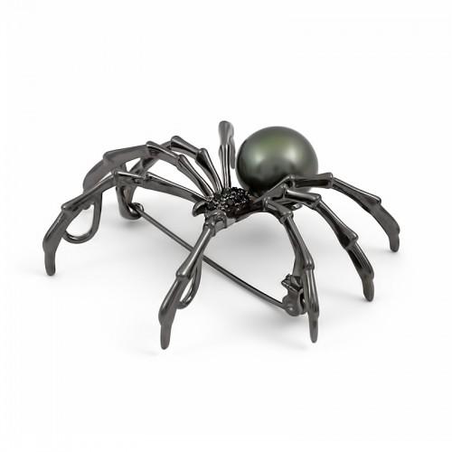 """Брошь - подвеска """"паук"""" с морской таитянской жемчужиной"""