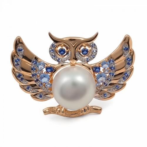 Брошь-сова из золота 585 с натуральным жемчугом и наношпинелью (голубая и синяя)