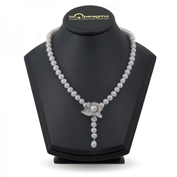 Ожерелье-галстук из жемчуга белого цвета