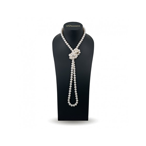 Ожерелье 120 см из жемчуга белого цвета 9,0 - 9,5 мм