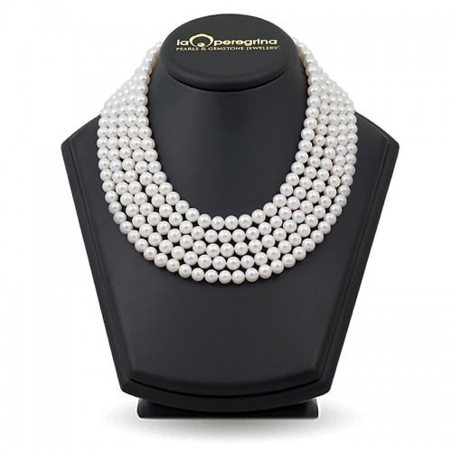 Ожерелье из пяти нитей натурального жемчуга АА+ 7,5 - 8,0 мм