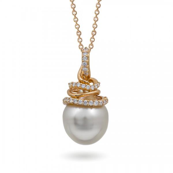 Подвеска из золота 750 с морским жемчугом южных морей и бриллиантами