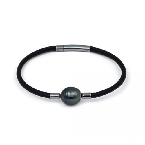 Кожаный браслет с морской таитянской жемчужиной