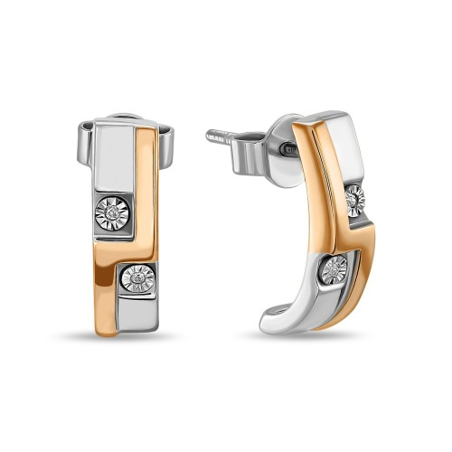 Серьги из золото 585 пробы c бриллиантами