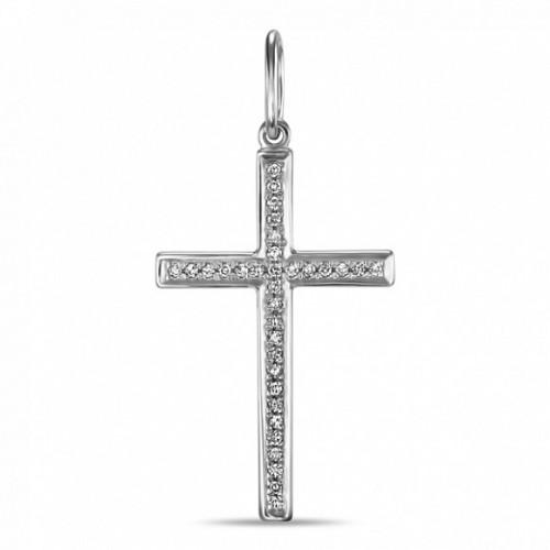 Крест из золота 585 пробы с бриллиантом