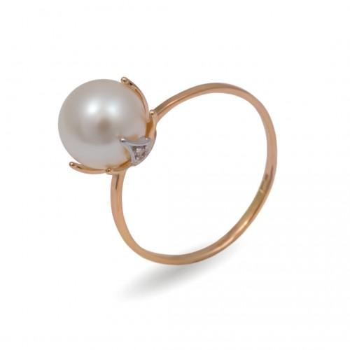 Кольцо из золота 585 с натуральным жемчугом и фианитами