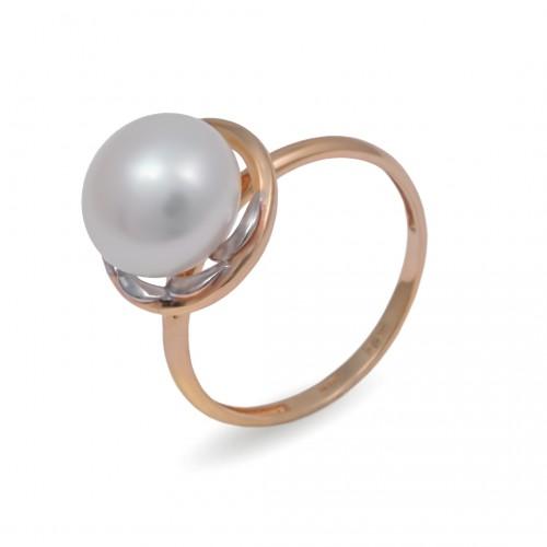 Кольцо из золота 585 с натуральным жемчугом