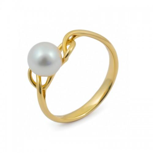 Кольцо из желтого золота 750 пробы с морским жемчугом Акойя