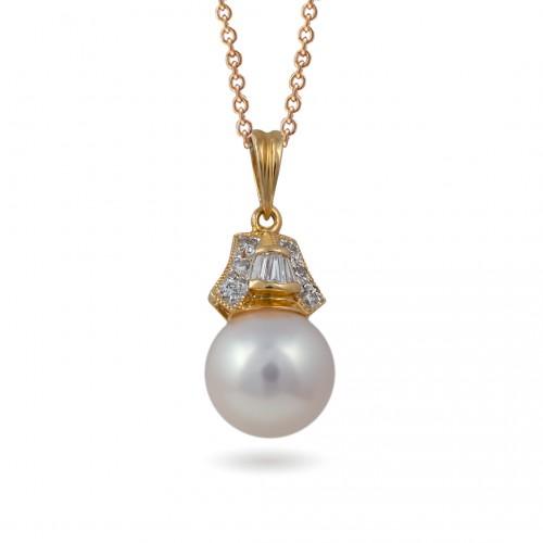 Подвеска из золота 585 пробы с морским жемчугом Акойя и бриллиантами