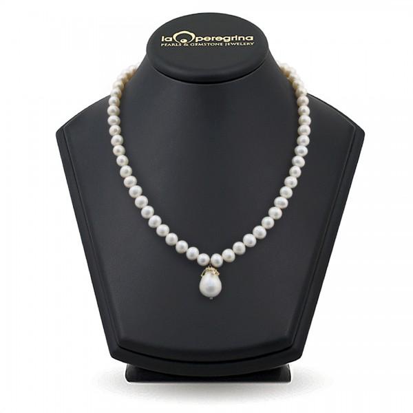 Ожерелье из натурального жемчуга с подвеской