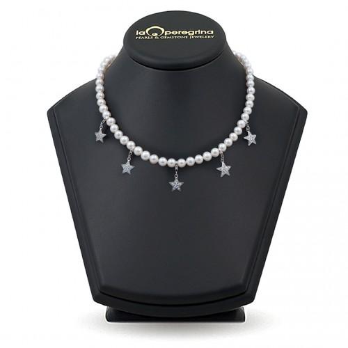 Ожерелье из жемчуга белого цвета с подвесками