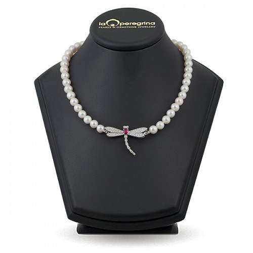 Ожерелье из жемчуга белого цвета dragonfly