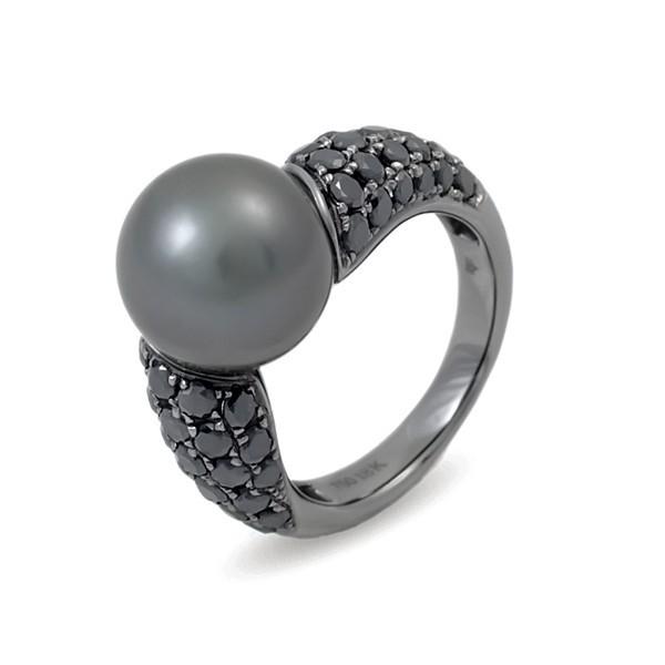 Кольцо из черного золота 750 пробы с морским жемчугом Таити и бриллиантами