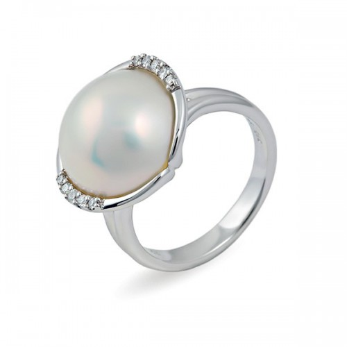 Кольцо из золота 585 пробы с жемчугом МАБЕ и бриллиантами