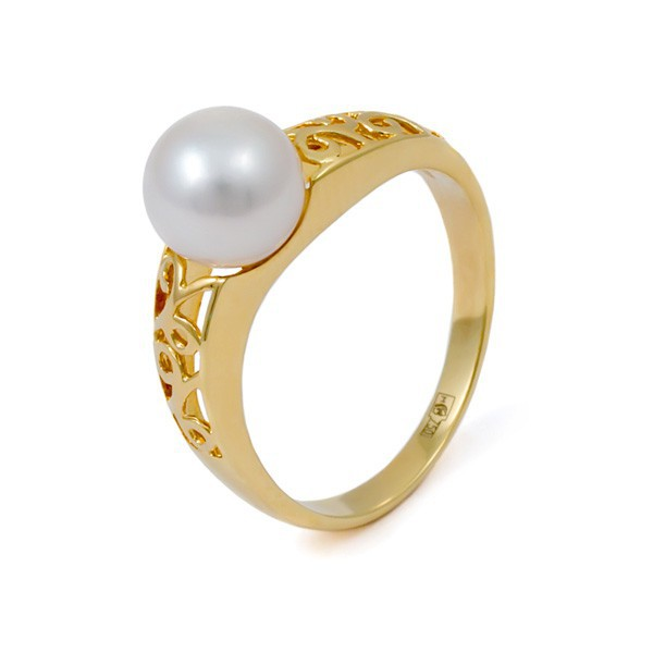 Кольцо из золота 750 пробы с морским жемчугом Акойя