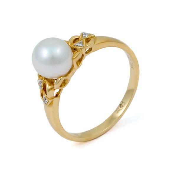 Кольцо из золота 750 пробы с морским жемчугом Акойя и бриллиантами