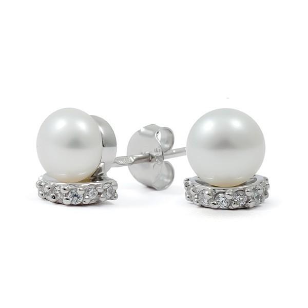 Серьги из серебра 925 пробы с натуральным жемчугом и фианитами