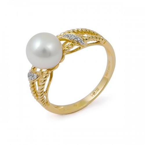 Кольцо из золота 750 пробы с натуральным жемчугом и бриллиантами